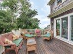 Teak deck and comfy furniture makes for superb outdoor summer living.