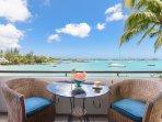 Fabulous views over the serene turquoise lagoon and sunsets...