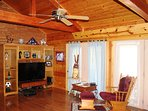 Vaulted Ceiling, Big Screen TV with sound bar, Satellite TV