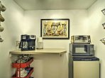 In the mornings, make yourself a warm cup of coffee in the well-equipped kitchenette before heading out to explore the