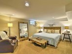The home's master bedroom offers a new king bed that's sure to afford its guests peaceful nights of sleep.