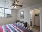 Utilize the air condoning unit or ceiling fan for a cool and comfortable slumber.