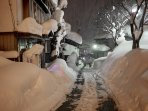 A typical snowy scene in the Nozawa Onsen village