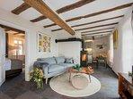 Appartement mit Balkon, 45 m2, Wohzimmer, Küche, Kamiofen, Zirbenholzschlafzimmer, Bad mit Dusche
