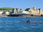 Aberystwyth Pier and kayaker