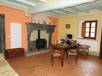 Another living kitchen diner with original fireplace - monastery