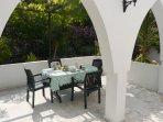 Dining area under the grape vine