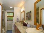 Double sink vanity in full bathroom