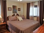 Master Bedroom with King bed, HDTV, private bathroom, large closet