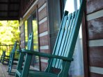 Enjoy a great book from the rockers on the porch, overlooking the Great Smoky Mountains!