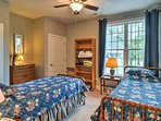 The 2 twin beds in the last bedroom are perfect for siblings or close friends.