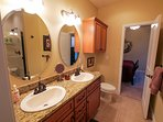 Jack and Jill bathroom separating the lower level bedrooms