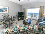 Living room area with beautiful view of the Gulf of Mexico.