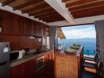 kitchen with moveable island