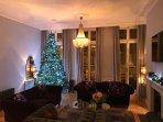 The drawing room at Christmas