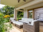 Comfortable seating on the patio outside one of the queen bedrooms