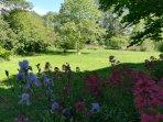 Le hamac et le filet de badminton dans un parc d'1.5 hectare