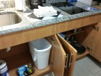 Kitchen counter top and cabinet contents