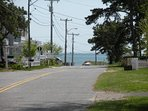 View of ocean and beach from driveway (you're so close!)
