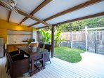 Private garden and outdoor shower. Out the gate, turn left and 30 metres away is the beach!