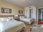 Sleep soundly in the 2 cozy queen beds.