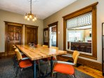 The dining room is adjacent to the parlor and the chef's kitchen for easy entertaining or gathering.