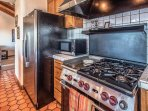 Stainless steel appliances including a professional chef's gas range.
