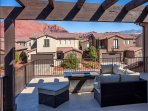 Upstairs Deck, glass covered fire pit