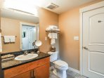 Custom Shower and Tub in Master Bathroom, Complimentary Organic Body Wash and Shampoo Provided