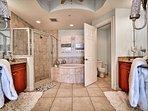 Large master bathroom with jacuzzi tub.