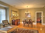 This cozy home features beautiful crown molding and 9-foot ceilings.