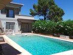 Beautifully decorated 4 bedroom villa,  with pool, lawn and garden. 5 minutes walk to the beach.