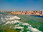 Beautiful Blue Flag  Beach, showers, changing, toilets, café