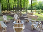 Pond area with picnic tables and fire pits