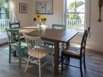 Dining area with sliding doors to porch
