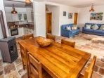 Ground floor kitchen, dining and lounge area. Beautiful solid oak dining table