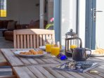 Enjoy breakfast in the sun