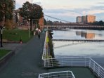 The Clyde Walkway is ideal for walking, jogging and cycling. The apartment sits beside the walkway.