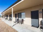 Our Motel Rooms, each with their own table and chairs to enjoy your morning coffee.