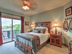 This bedroom offers a comfy queen bed.