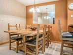 Enjoy friends and family at the comfortable dining table that seats 6 guests.