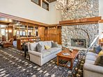 Beautiful main lobby with large stone wood fireplace, a great place to gather after a day on the slopes!