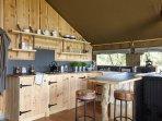 Well equipped kitchen. butler sink. Slate worktops. Enamelware.