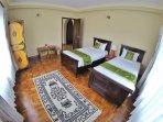 Tibetan Themed Twin Room. The white tibetan carpet is around 50 years old with handmade furniture.
