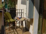 the 9 m2 sunny and shady  terrace, table and chair ideal for a morning coffee or wine at evenings