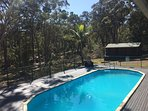 11 m pool and cabin in background