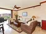 The Villa has a Comfortable Conversation Area just off the Kitchen