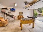 Game Room w/ Pop-O-Shot, Air Hockey, Foosball, 50' Smart TV