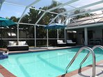OVERSIZED POOL CAN BE HEATED VIA ELECTRIC OR SOLAR PANELS - SIZE 8.90m x 4.90m. NEW SUN UMBRELLAS.