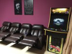 Enjoy the large arcade game machine with over 60 games and custom speakers